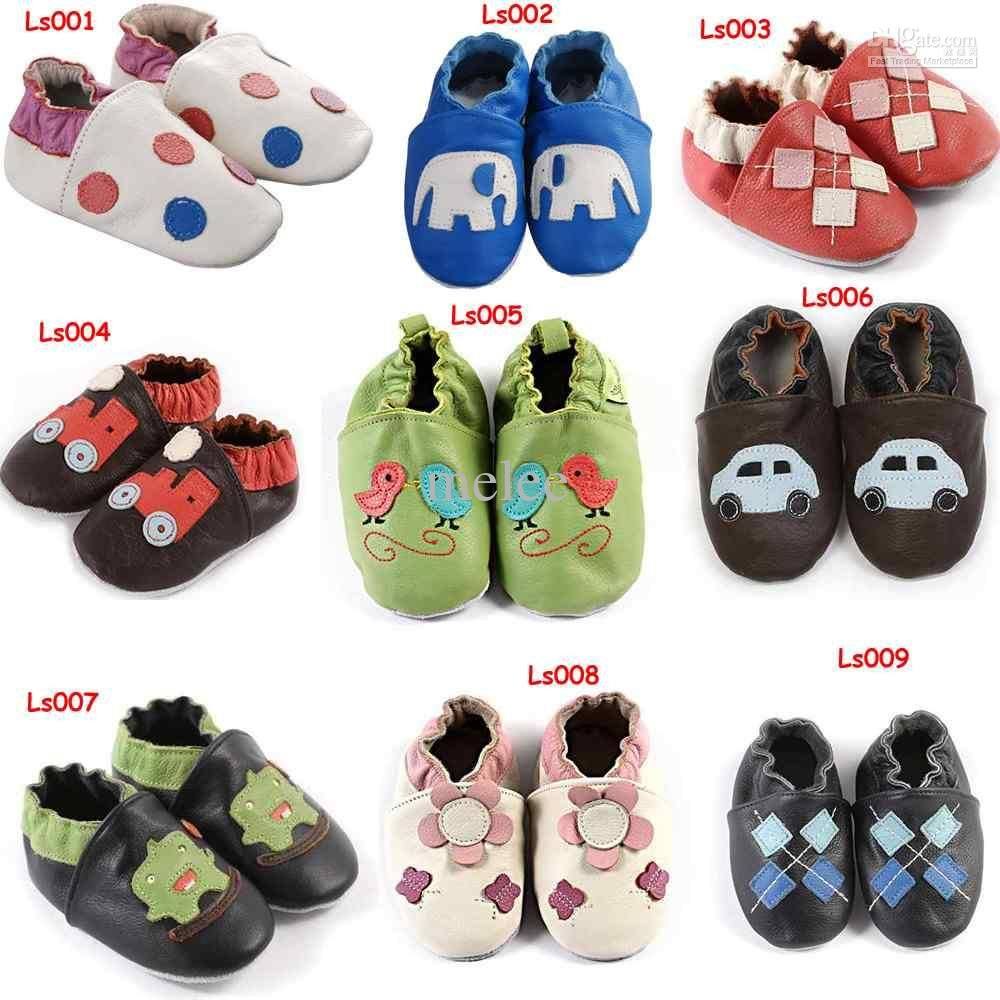feac1a88abaea Soft Sole Leather baby walking shoes zoo slippers crib car boys ...