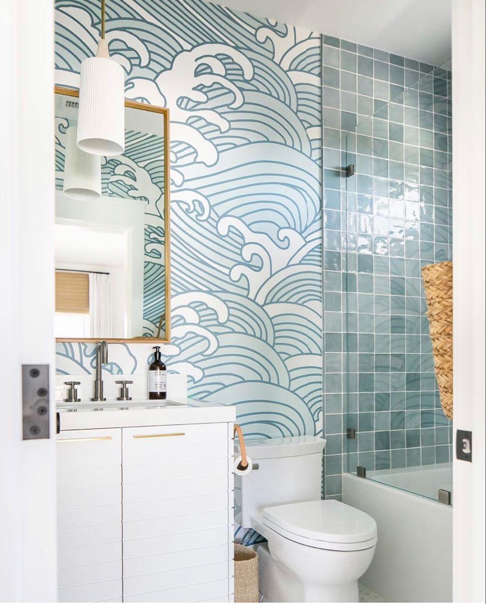 Bathroom Accent Wall Ideas In 2021 Beach House Bathroom Bathroom Mural Boho Bathroom