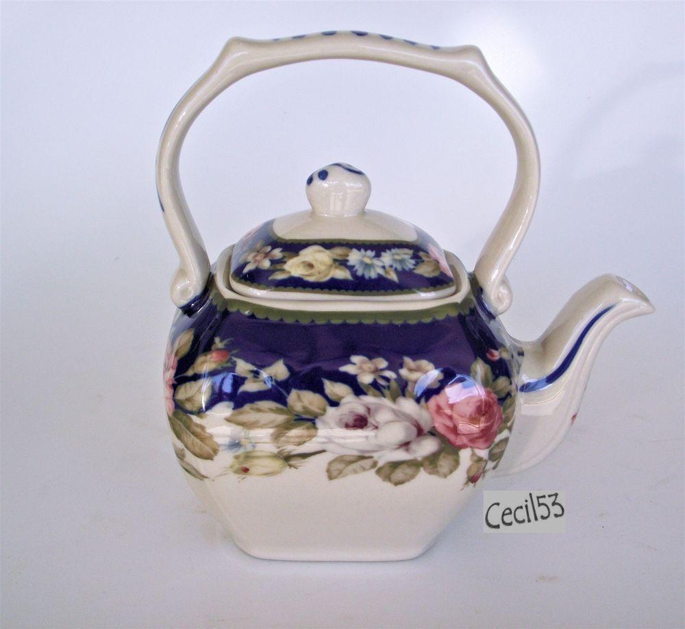 BLUE WHITE WITH FLORAL PATTERN DECORATIVE TEA POT - SHIPS FREE #Teapot