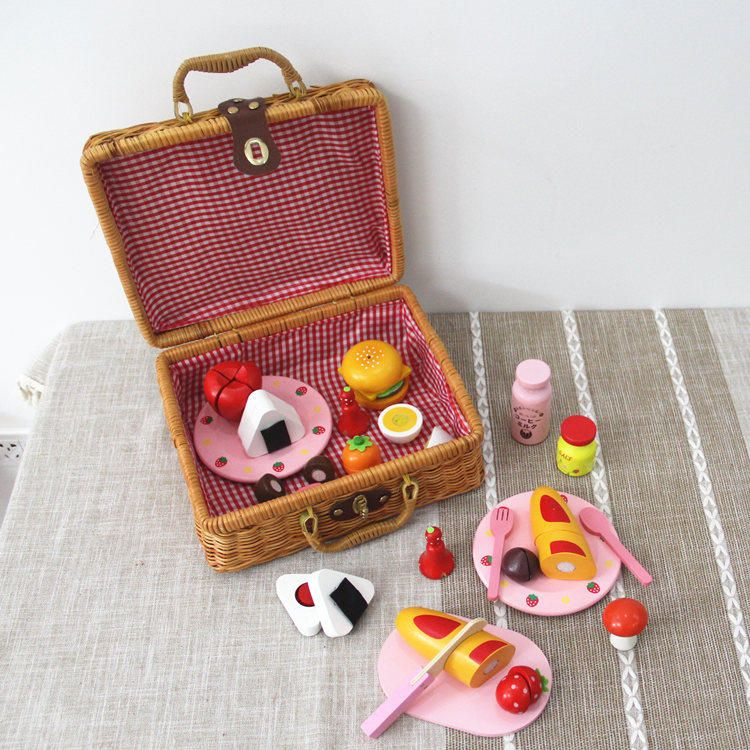 Free shippingbaby toys picnic basket food set wooden play