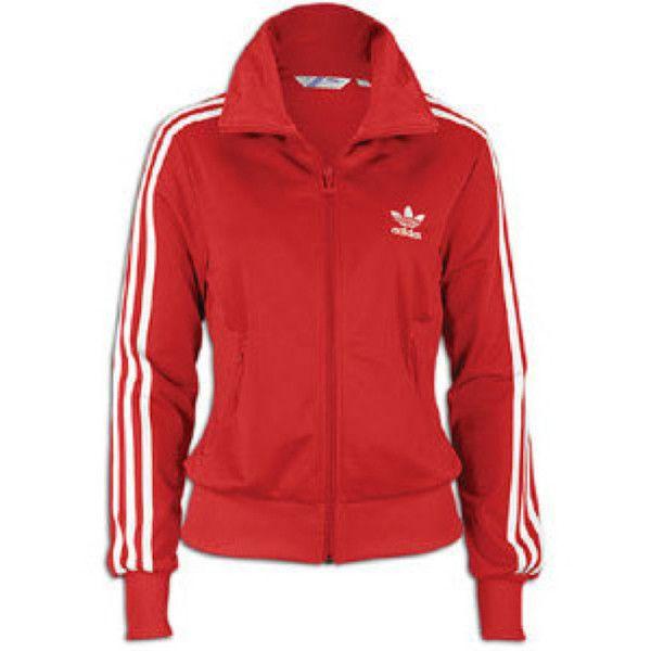 Adidas original firebird red track jacket (women) via Polyvore featuring  activewear, activewear jackets