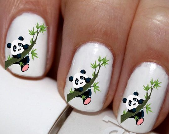 20 Pc Panda Bear Nail Art Bears Love Decals Cg8966na
