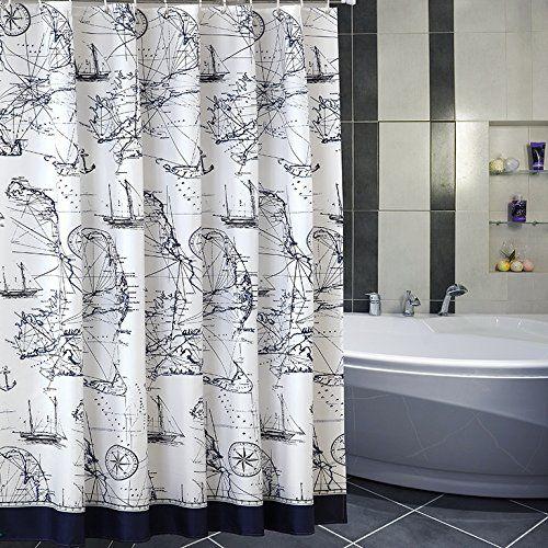 Eforgift Sea Theme Nautical Print Polyester Fabric Shower Curtains