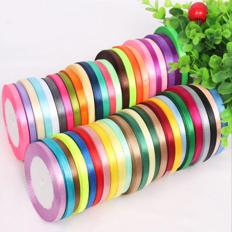 6mm 25 yards Single Face Silk Satin Ribbon Decorative Gift Packing ...