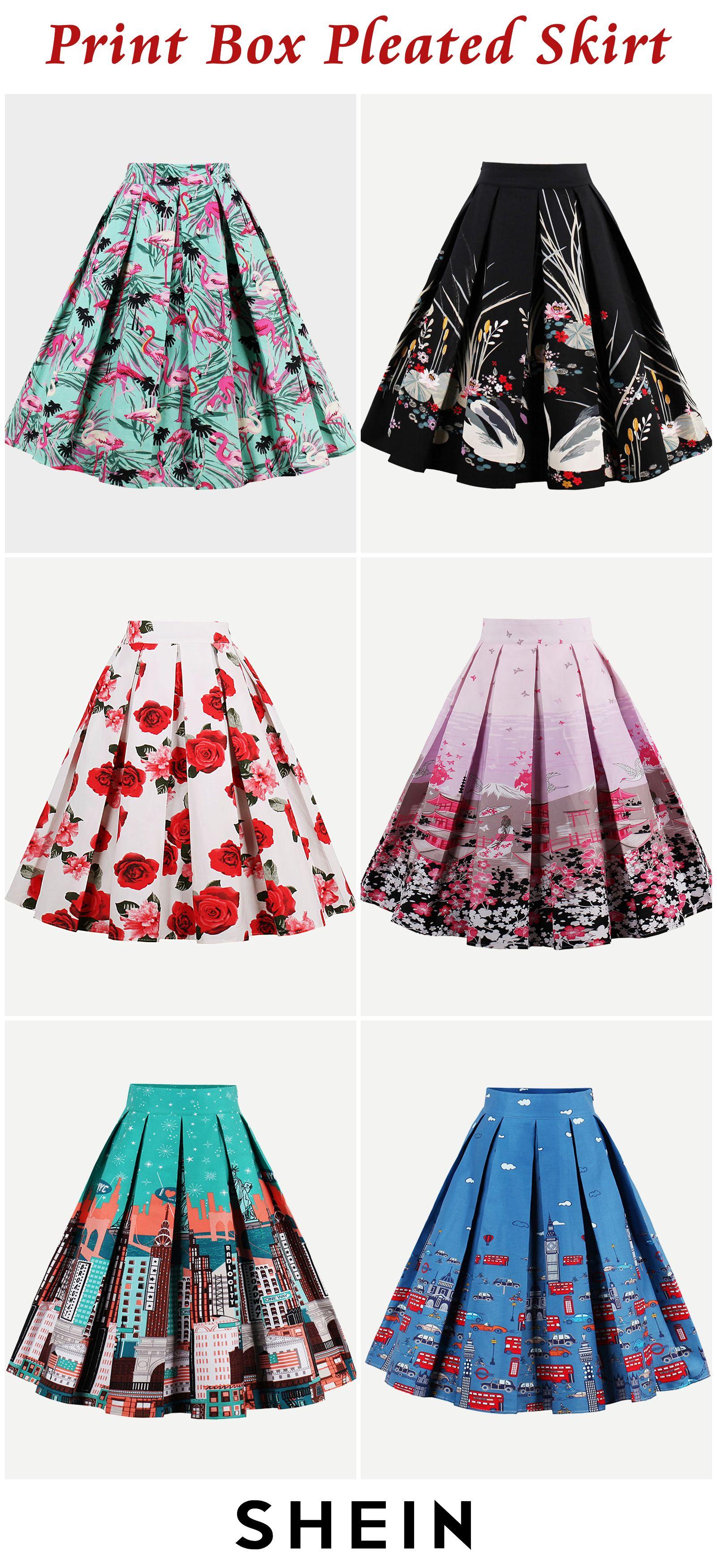 Print Box Pleated Skirt Pleated Skirt Diy Pleats Fashion Pretty Prom Dresses