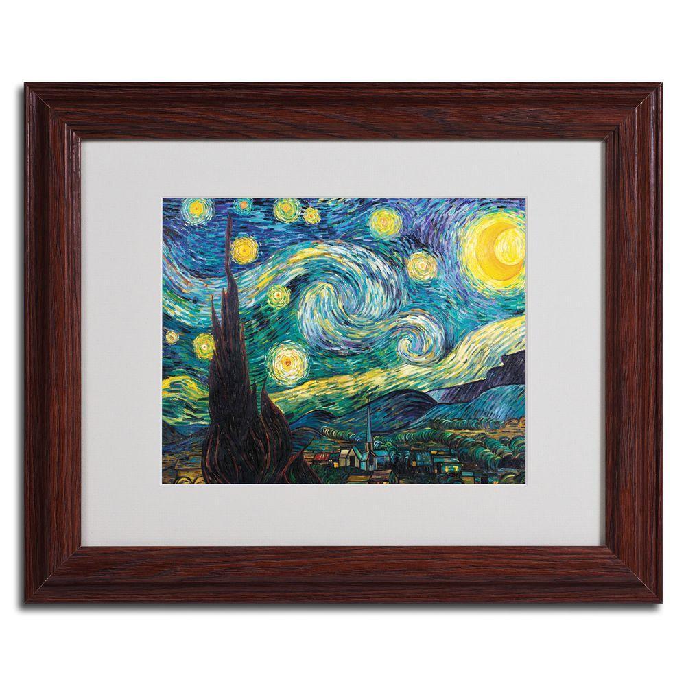 Trademark Fine Art 11 In X 14 In Starry Night Dark Wooden Framed Matted Art Multi Vincent Van Gogh Canvas Art Canvas Wall Art