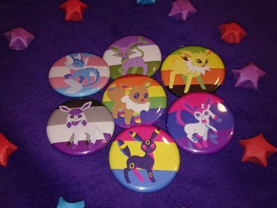 bf91146c Full Set of 9 Flags - Pride Evolutions - Pokemon Eevee-lution LGBTA 32mm  badge