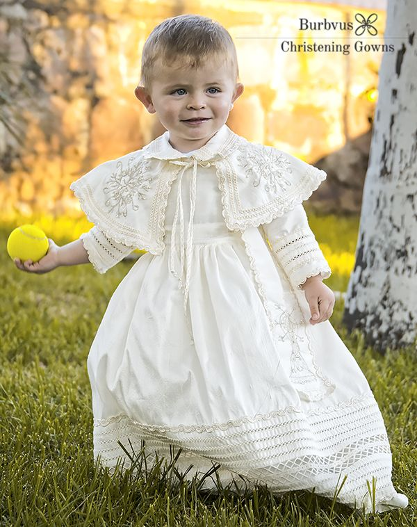 e1b5488ce Jose Ramon with his tennis Ball and handmade Christening Gown for baby boys  Burbvus B007