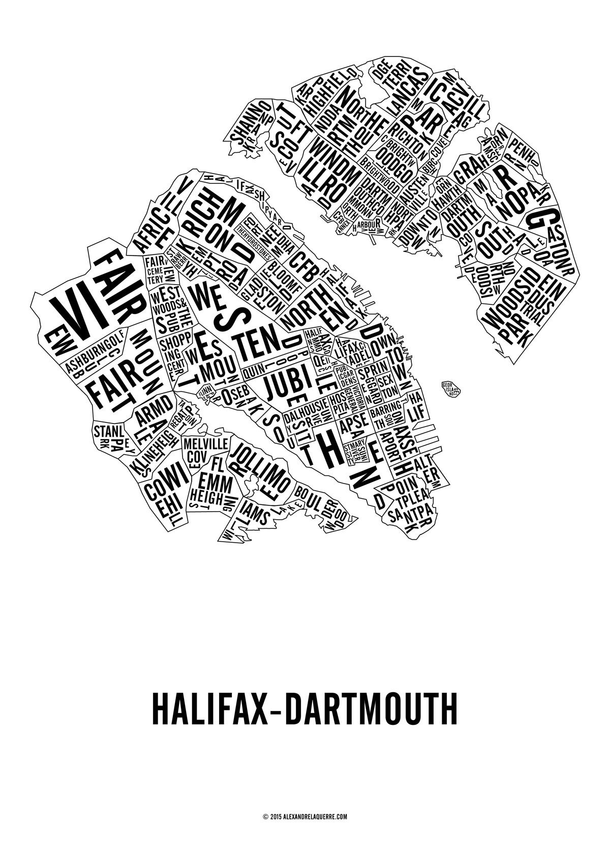 Halifax-Dartmouth Neighbourhoods map.