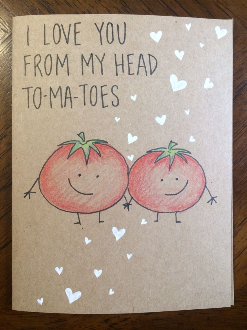 I Love You From My Head Tomatoes Card Birthday Boyfriend Diy Cards For