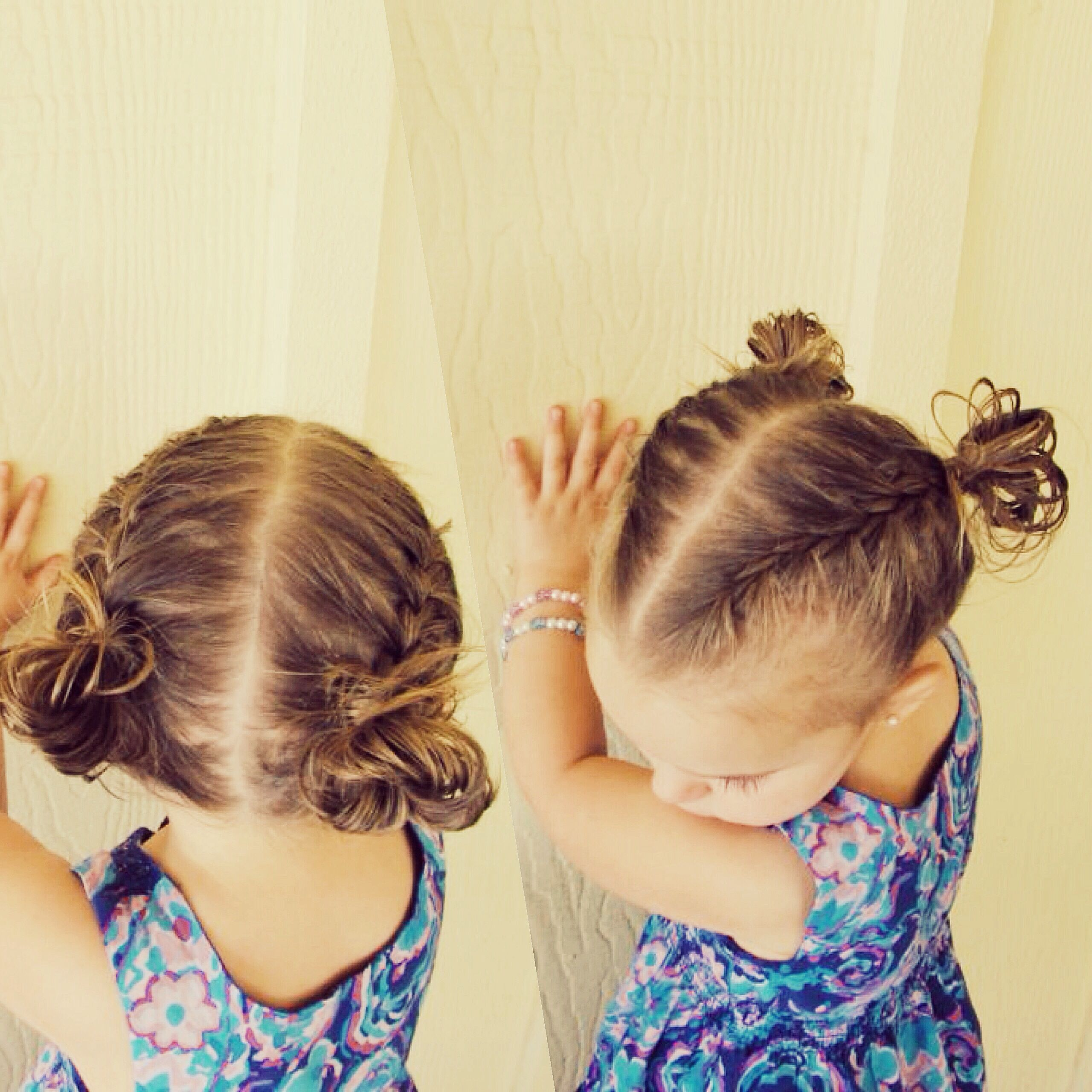 Two French Braids Pulled Into Two Messy Buns Two French Braids Hair Styles French Braid