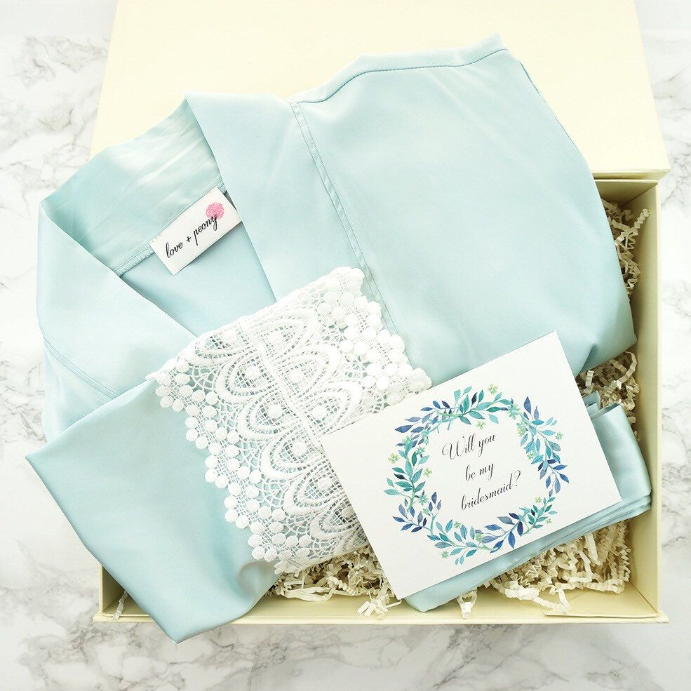 Something Blue Gift Box Bridesmaid Robes For Getting Ready