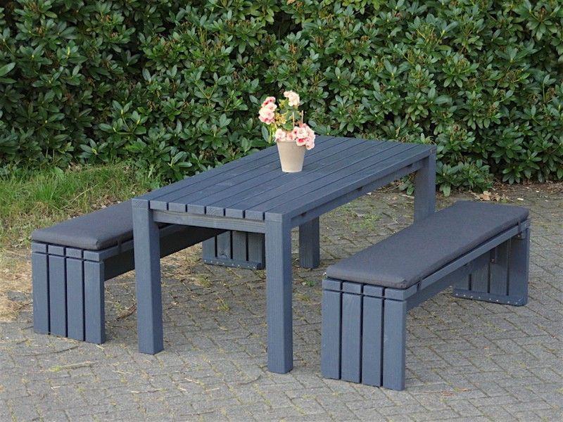 Gartenmobel Set 3 Holz Mit Polstern Farbe Anthrazit Grau
