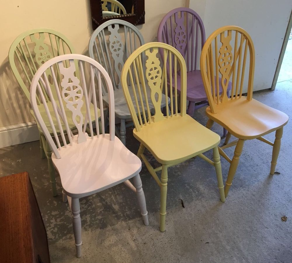 room set of 6 painted wheelback kitchen chairs pastel colours ebay