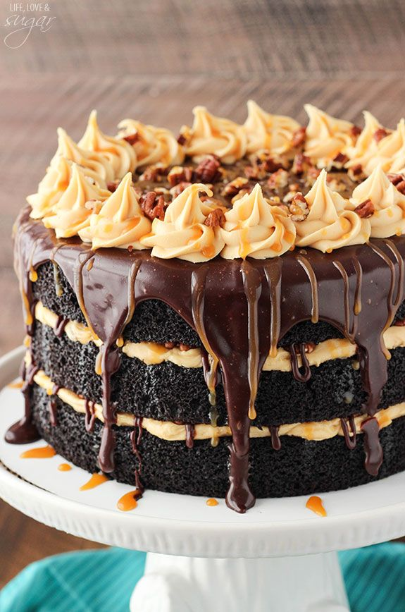 Turtle Chocolate Layer Cake with Caramel Icing