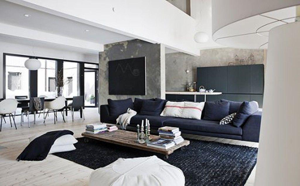 Beton schwarz Wände schwarz Teppich verwendet in schwarz-weiß - wohnzimmer ideen schwarz