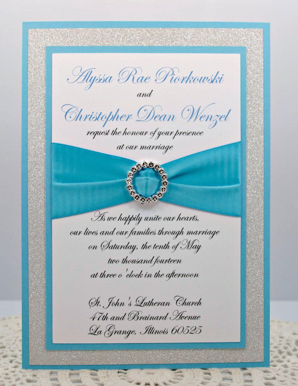 Diy Print At Home Stunning Teal Silver Glitter Wedding Invitation Kit Description