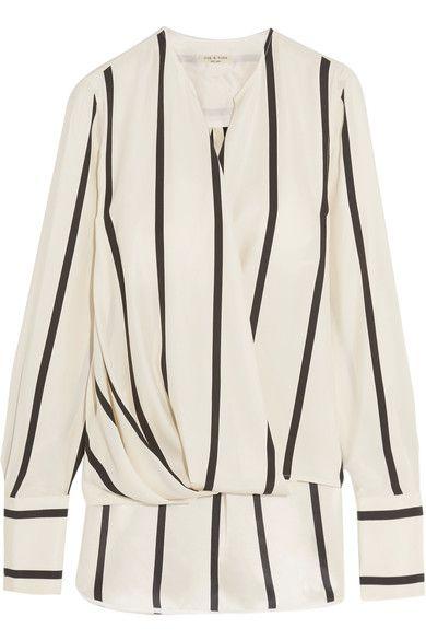 3145b1b97d7cea RAG   BONE Max Wrap-Effect Striped Silk Blouse.  ragbone  cloth  tops