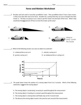Force and Motion Worksheet | classroom | Force, motion ...