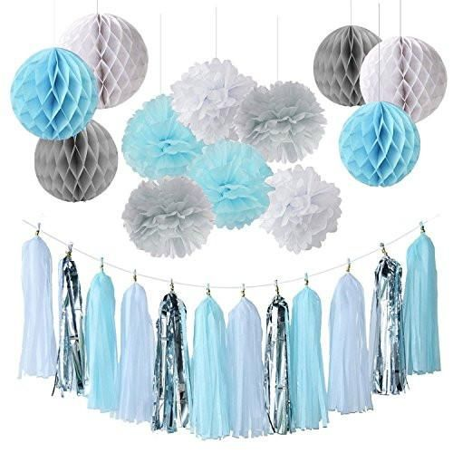 Baby Boy Baby Shower Decorations Baby Shower Backdrop Blue White