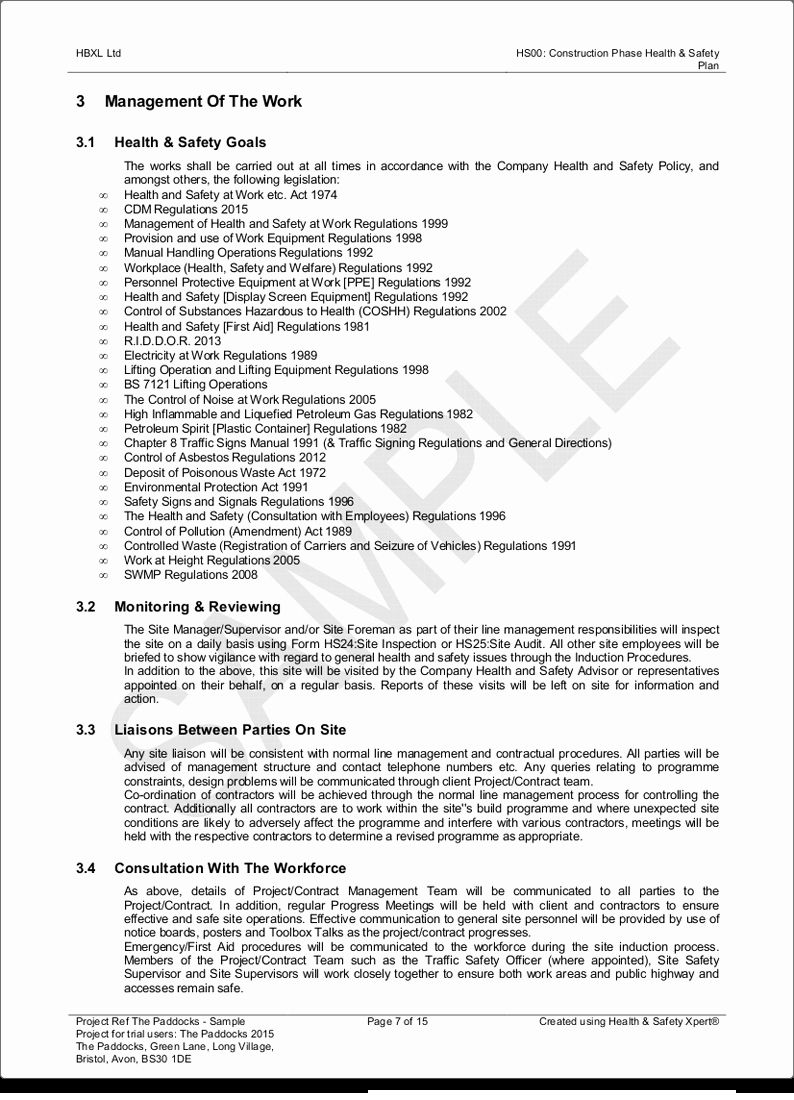 Construction Site Safety Plan Template New Construction Phase Health Safety Plan Hbxl Estimating In 2020 How To Plan Construction Site Safety Health And Safety Construction safety plan template free