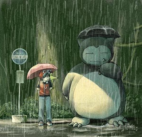 Totoro Satsuki And Mei At The Bus Stop In The Rain With Images