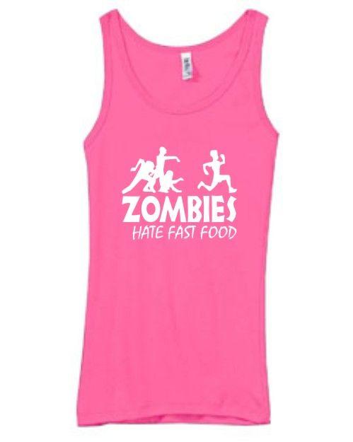 Shirt Tank Zombies Hate Fast Food Funny Humor Joke Undead Horror Scary | eBay