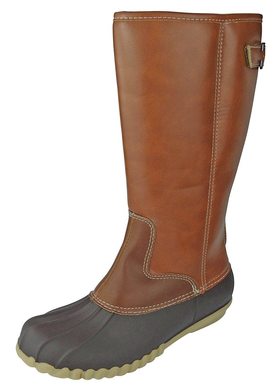 522997a4a08 Outwoods Women's Autumn-4 Two-Tone Mid-Calf Zipper Duck Boot Rain ...
