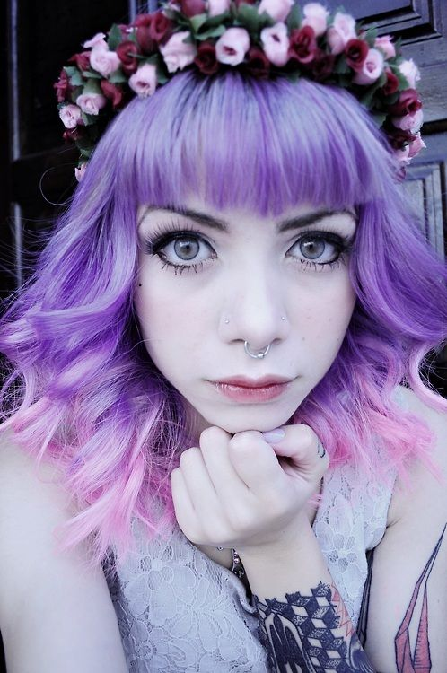 Lavender purple and pink dip dyed hair :)