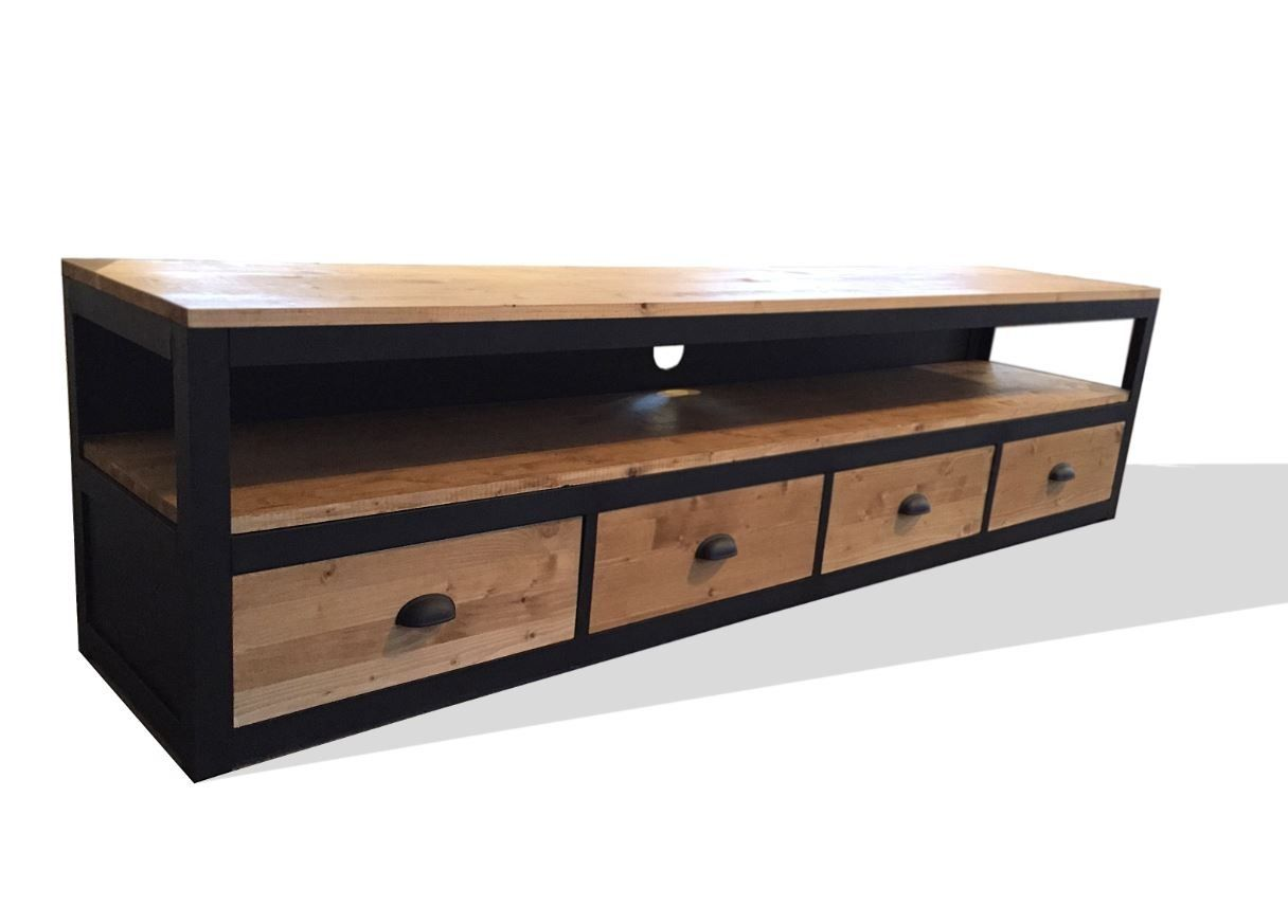 meuble tv style loft en acier et bois 4 tiroirs meubles. Black Bedroom Furniture Sets. Home Design Ideas