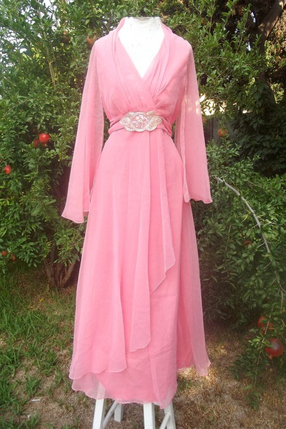 822d1fe3fef6c The Venus Pearl- Vintage 70s Coral Sheer Angel Sleeve Disco Hippie Retro  Draped Maxi Dress w/ Beaded Detail M L