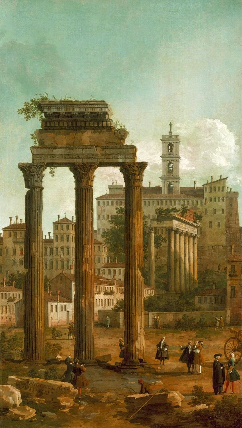 PANTHEON TEMPLE ROME ITALY ITALIAN OIL PAINTING ART GICLEE REAL CANVAS PRINT