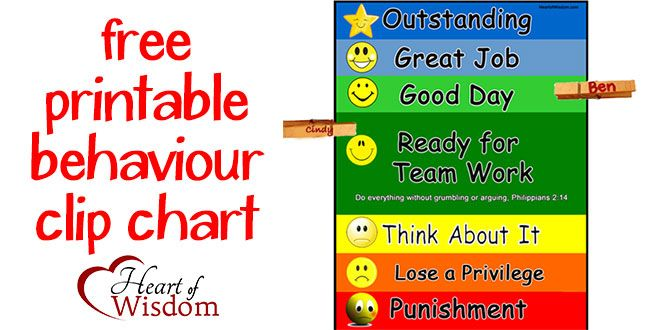 Free Printable Behavior Chart Free A Child Using The Clip Chart