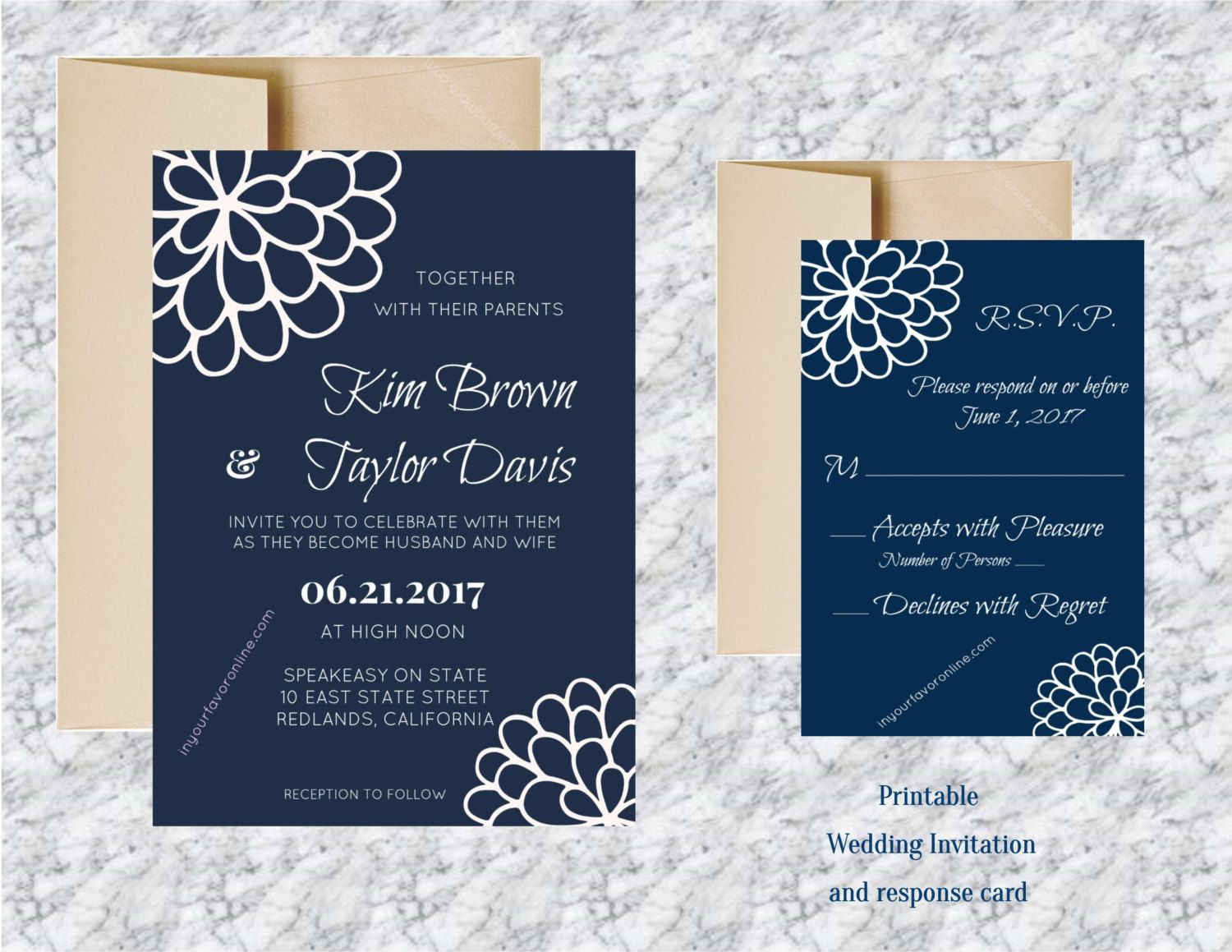 Printable Wedding Invitation and Response Card by
