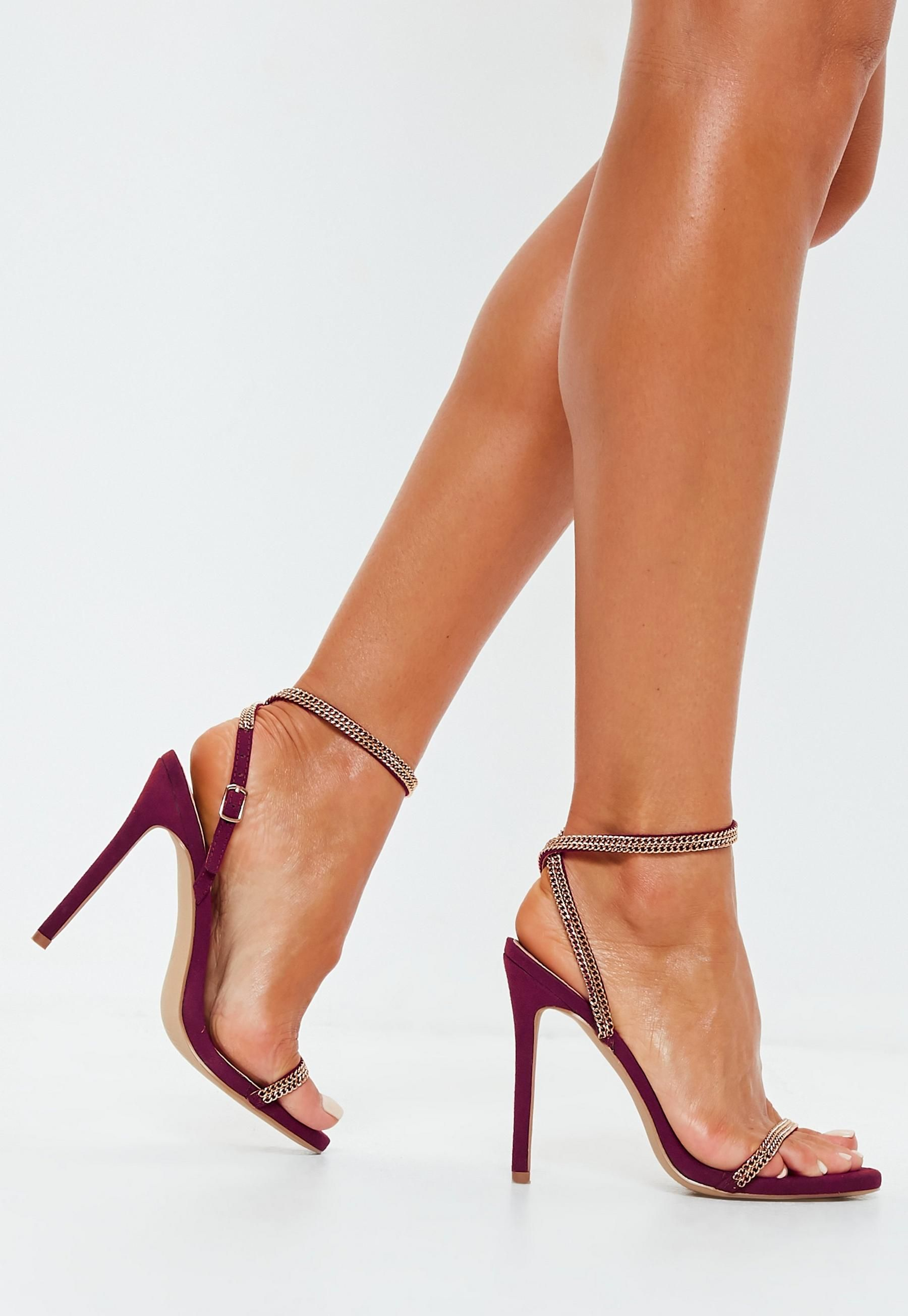 b5b10a6a53 Burgundy Chain Trim Barely There Heels in 2019 | #shoes | Heels ...