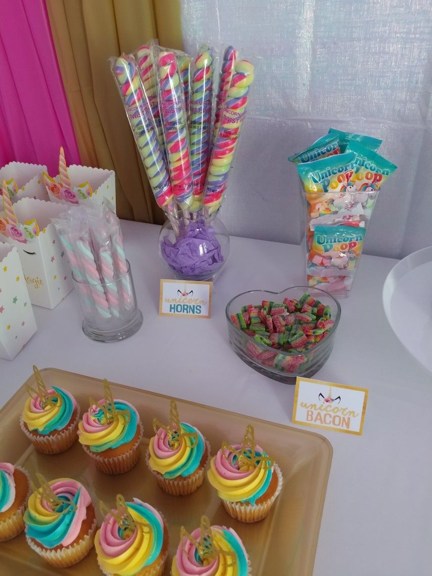Unicorn Candy Table Birthday Candy Table Unicorn Dessert Table Unicorn Desserts