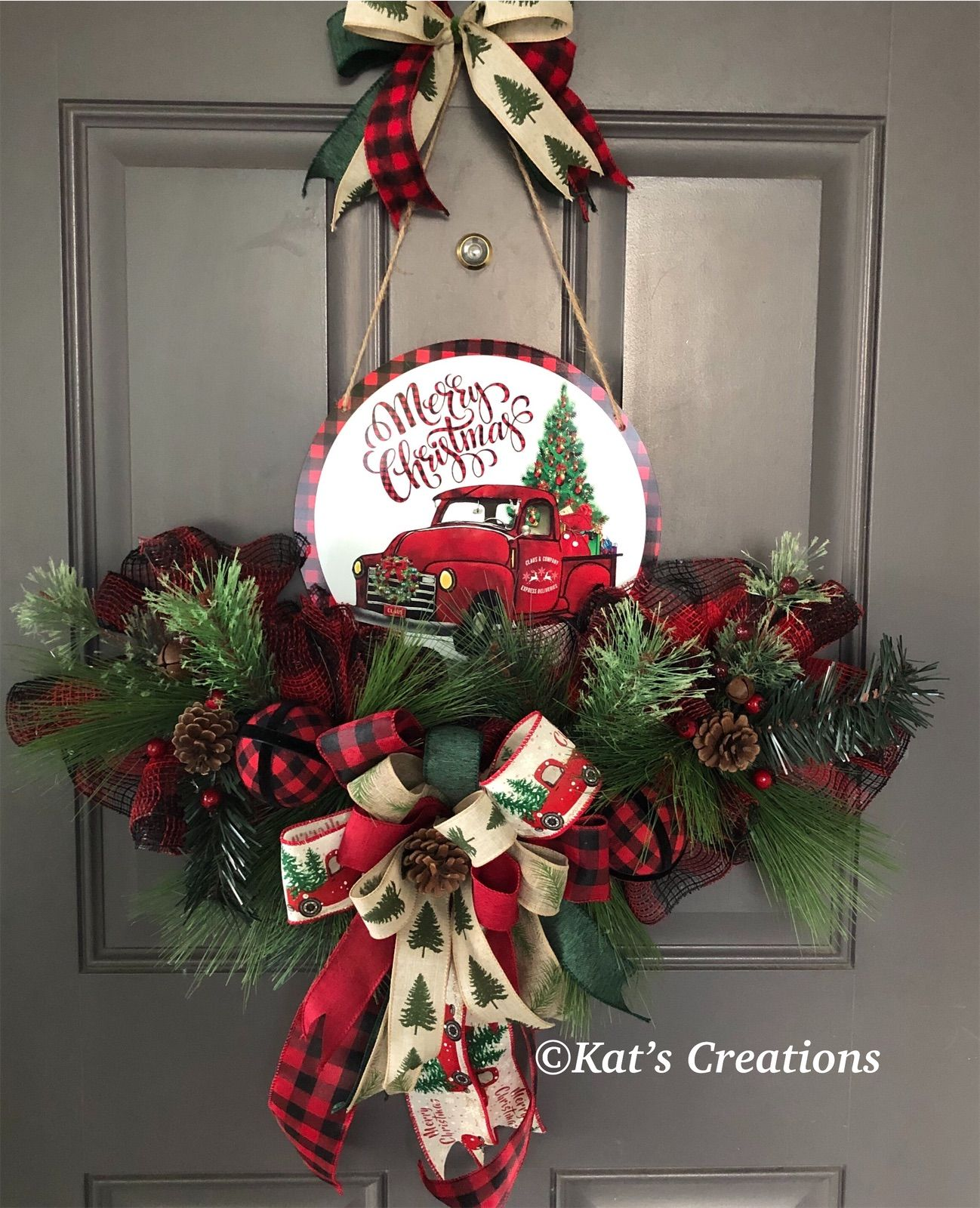 Red Truck Christmas Country Wreath Front Door Christmas Decorations Christmas Wreaths Diy Christmas Red Truck