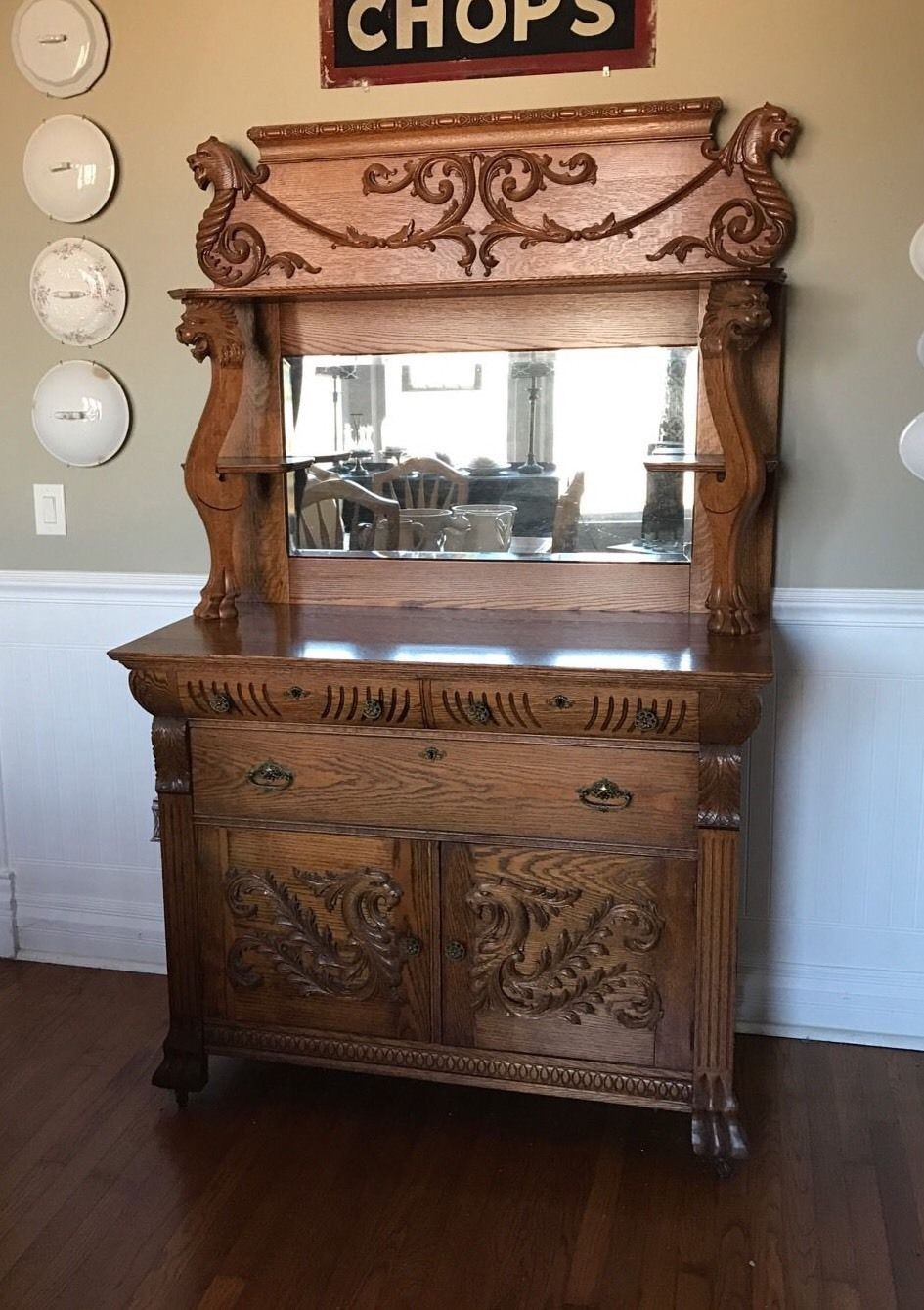 Antique glass flower carvings sideboard crown french furniture - Antique Ornate Oak Sideboard Buffet W Lion Heads Heavily Carved