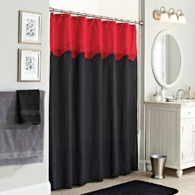 Excell Gardenia Shower Curtain In Red Black Black Shower