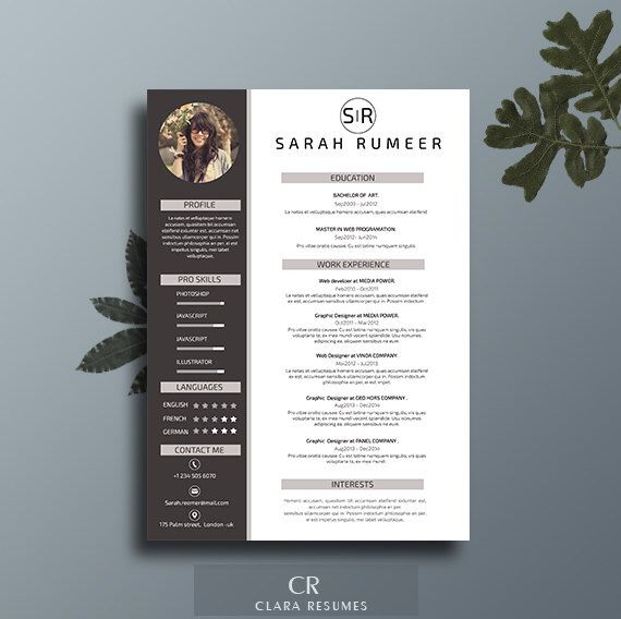Resume Template, Resume Teacher, Resume Template Word, Creative - contacts template word