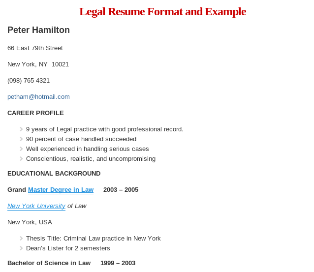 Sample Legal Resume Format Read More  HttpWwwResumeformatOrg
