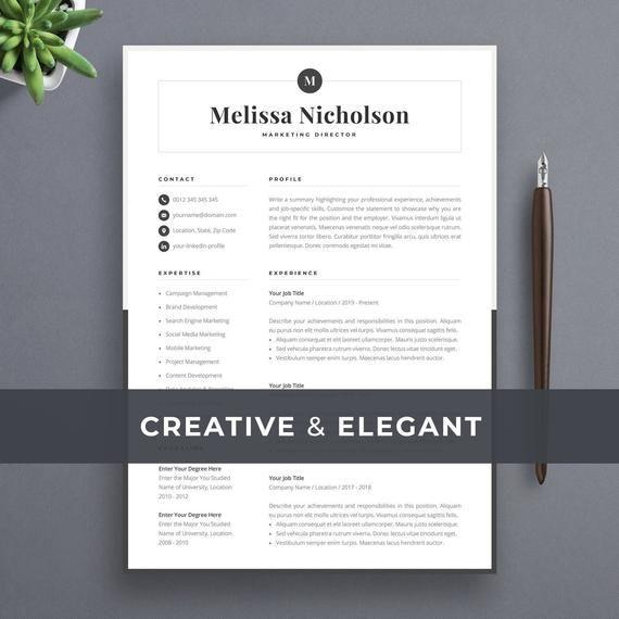 Modern Resume Template Creative Cv For Word Elegant Design Etsy In 2020 Creative Resume Templates Modern Resume Template Resume Template