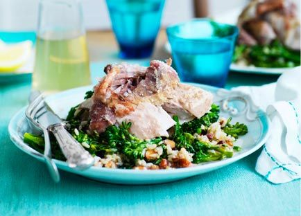 Australian Gourmet Traveller recipe for braised turkey with brown rice and broccolini.