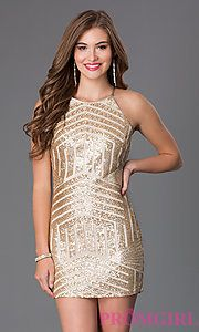 Buy Short Sleeveless Sequin Dress by Sequin Hearts at PromGirl