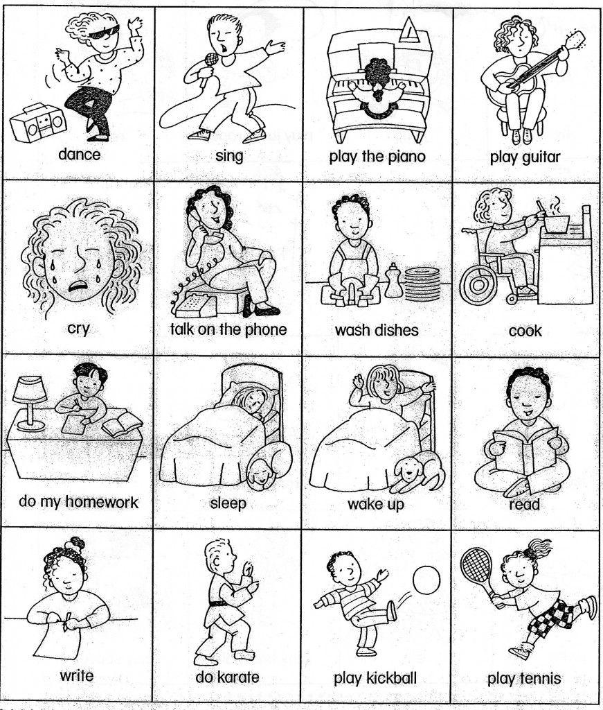 Esl Verb Cards Actions For Beginner Gesture Game Verbos