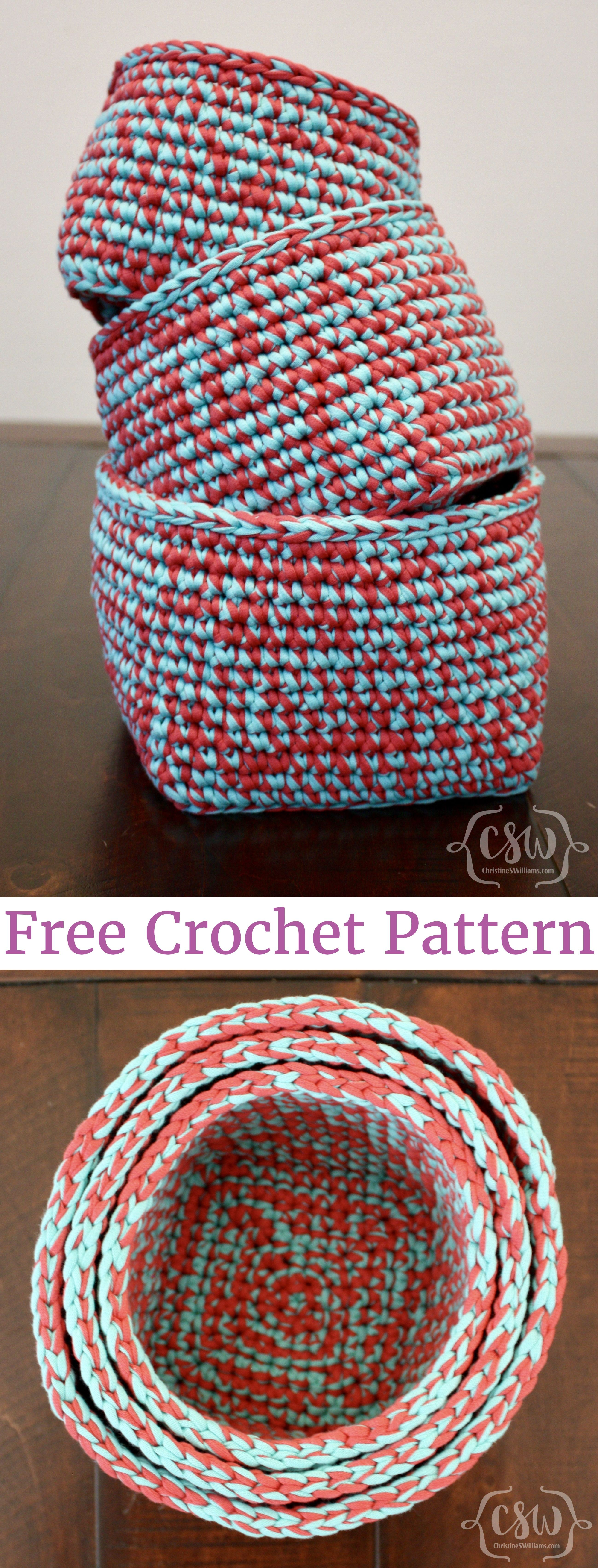 Multicolored Stacking Baskets | Free crochet, Crochet and Patterns