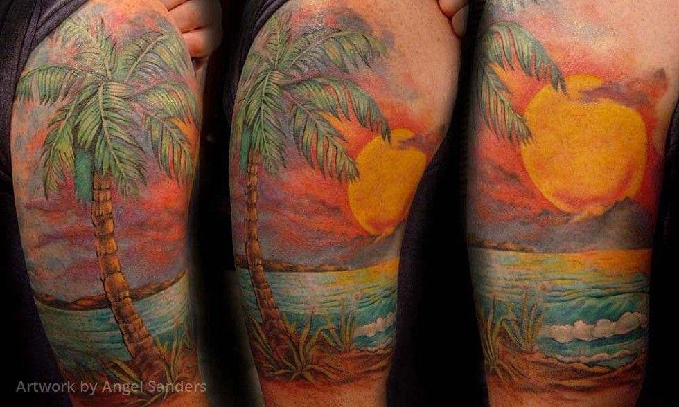 sunset half sleeve tatoo ideas pinterest tattoo sea tattoo and tatting. Black Bedroom Furniture Sets. Home Design Ideas