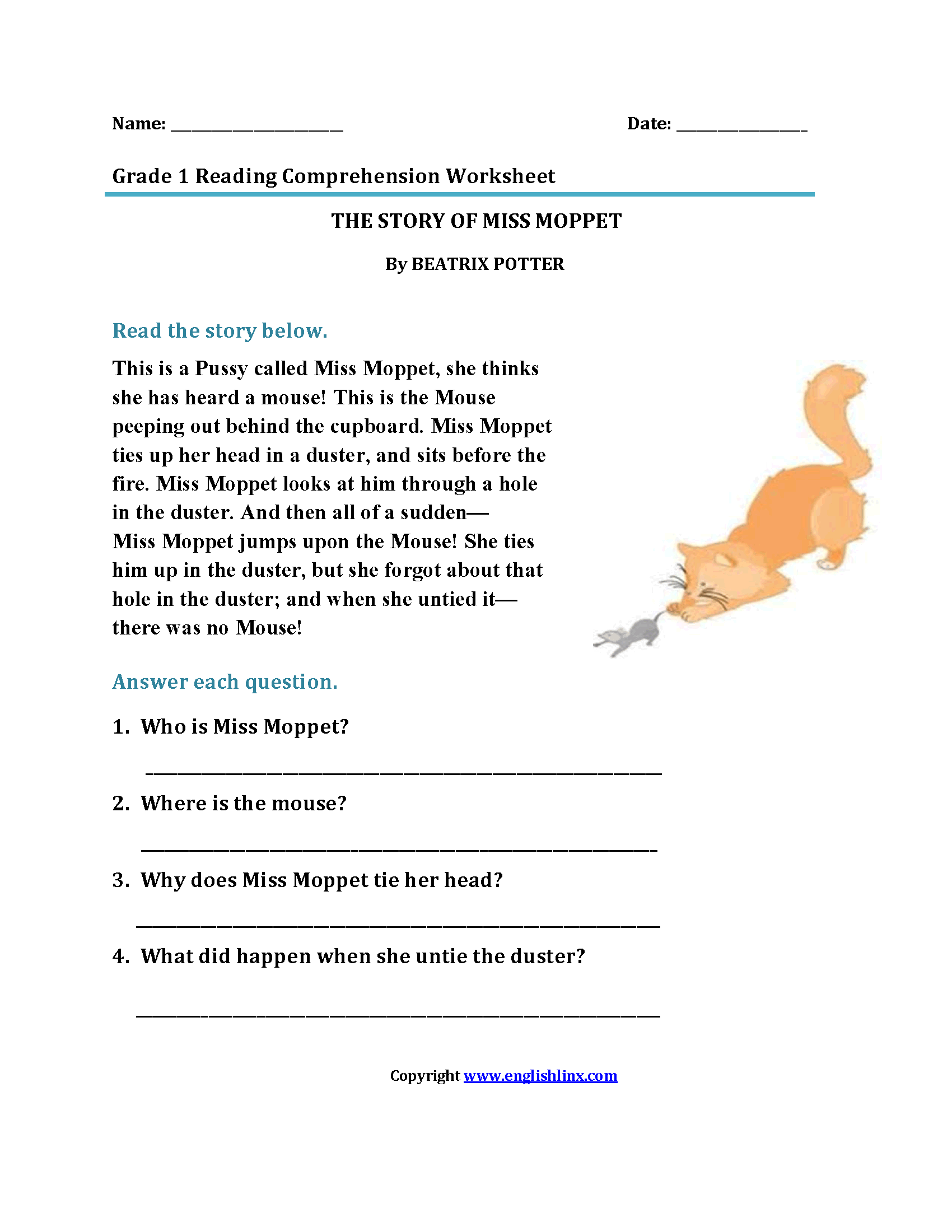 Story Of Miss Moppet First Grade Reading Worksheets