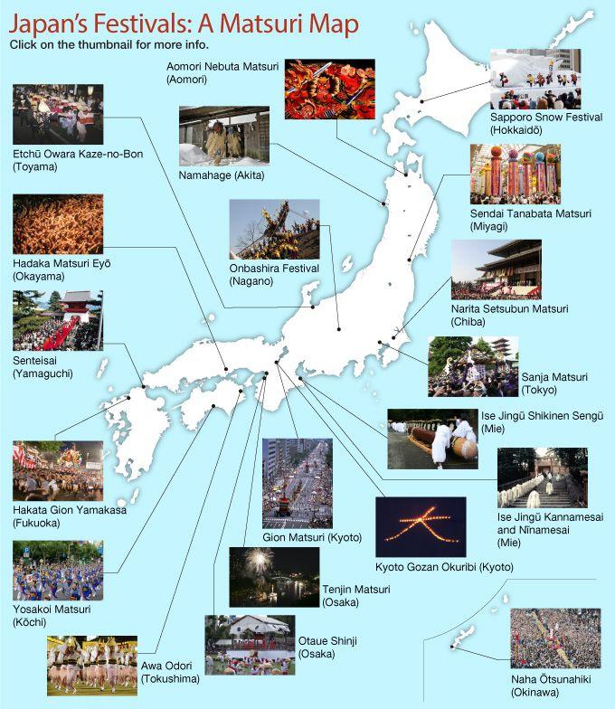 Japans Festivals A Matsuri Map Japan Pinterest - Map 0f japan