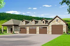 Photo of Plan 68582VR: 4-Car Detached Garage Plan with RV Parking and Workshop#4car #6858…